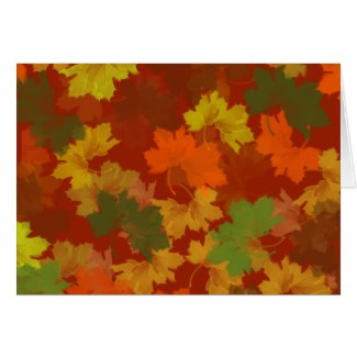 Fall Leaves - Red Background Card