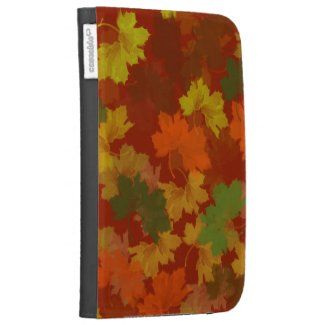 Fall Leaves - Red Background Case For The Kindle