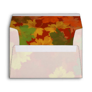 Fall Leaves - Red Background Envelope
