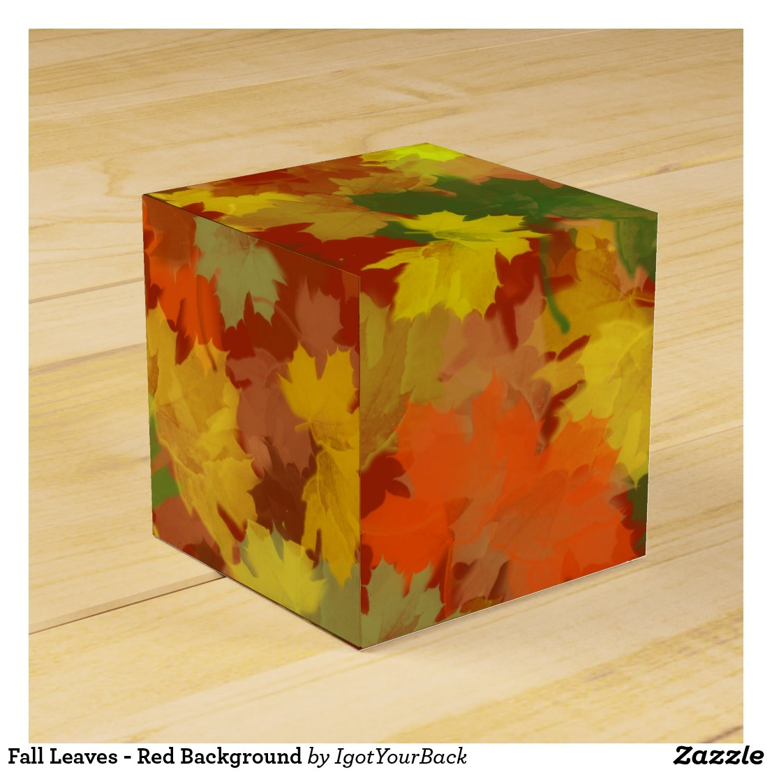 Fall Leaves - Red Background Favor Box