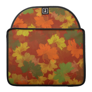 Fall Leaves - Red Background Sleeves For MacBooks