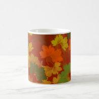 Fall Leaves - Red Background Classic White Coffee Mug