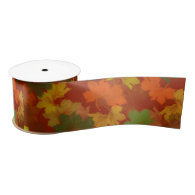 Fall Leaves - Red Background Satin Ribbon