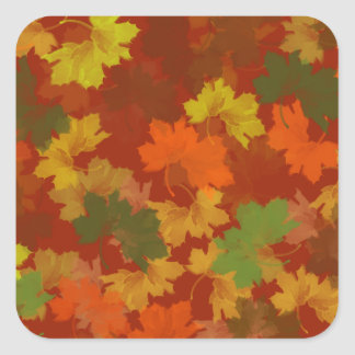 Fall Leaves - Red Background Square Sticker