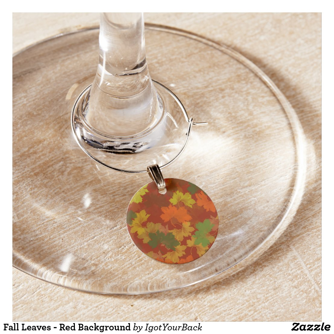Fall Leaves - Red Background Wine Charm