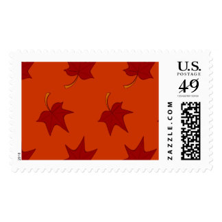 Fall Leaves: Red Leaf on Orange Postage Stamp