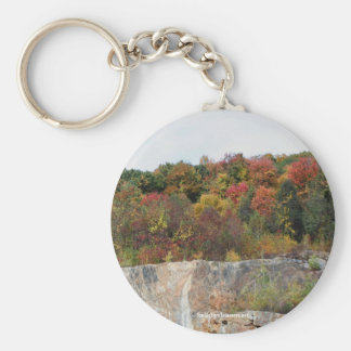 Fall Leaves Rock Cliff Nature Photography Keychain