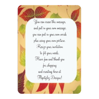 """Fall Leaves Rounded corners invite 5"""" X 7"""" Invitation Card"""