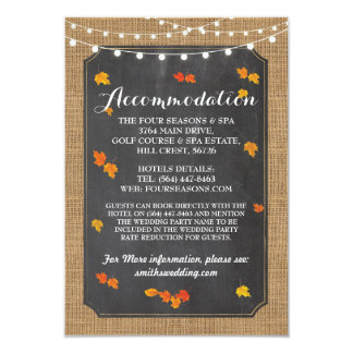 Fall Leaves Rustic Accommodation Chalk Wedding Card