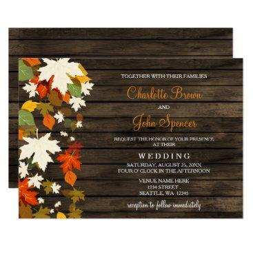 Fall leaves Rustic Barn Wood Fall Wedding Invites