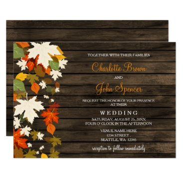 Fall leaves Rustic Barn Wood Fall Wedding Invites