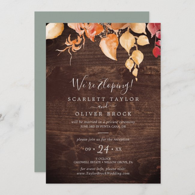 Fall Leaves Rustic Brown Wood Elopement Reception Invitation