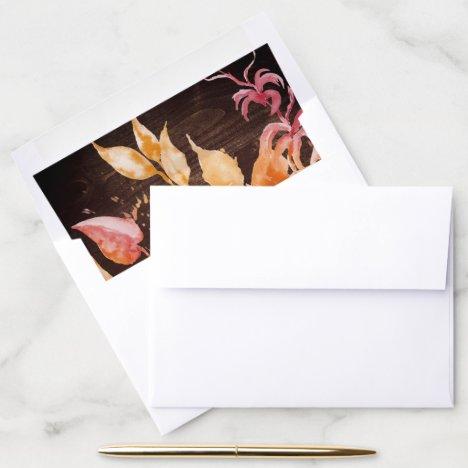 Fall Leaves | Rustic Brown Wood Wedding Envelope Liner