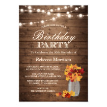 Fall Leaves Rustic String Lights Birthday Party Card