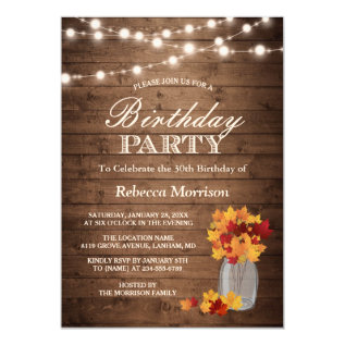 Fall Leaves Rustic String Lights Birthday Party Card at Zazzle