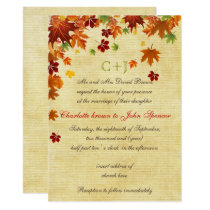 Fall Leaves Rustic Wedding Card