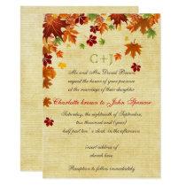 Fall Leaves Rustic Wedding Card
