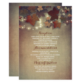 Fall Leaves Rustic Wedding Details - Information Card