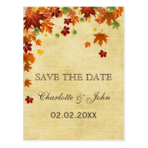 Fall Leaves Rustic Wedding Postcard