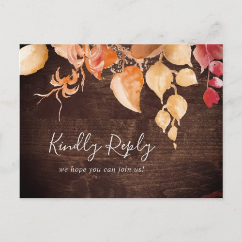 Fall Leaves Rustic Wood Song Request RSVP Postcard