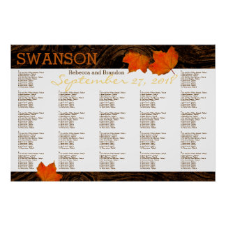 Fall Leaves Rustic Wood Wedding Seating Chart Poster