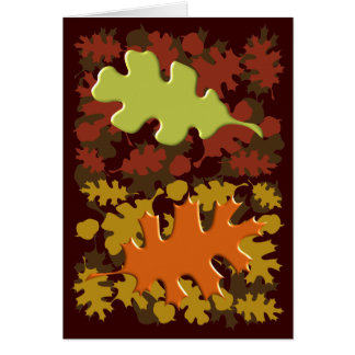 Fall Leaves Silhouette Colors Design Cards