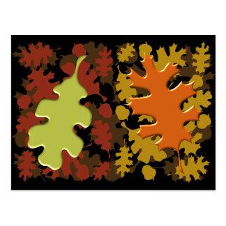 Fall Leaves Silhouette Colors Design Postcard