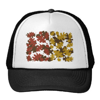 Fall Leaves Silhouette Colors Design Trucker Hats