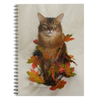 Fall Leaves Somali Cat Notebook