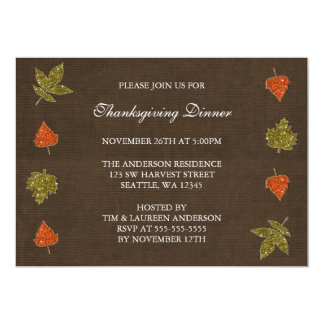 Fall Leaves Sparkle Thanksgiving Party Invitations