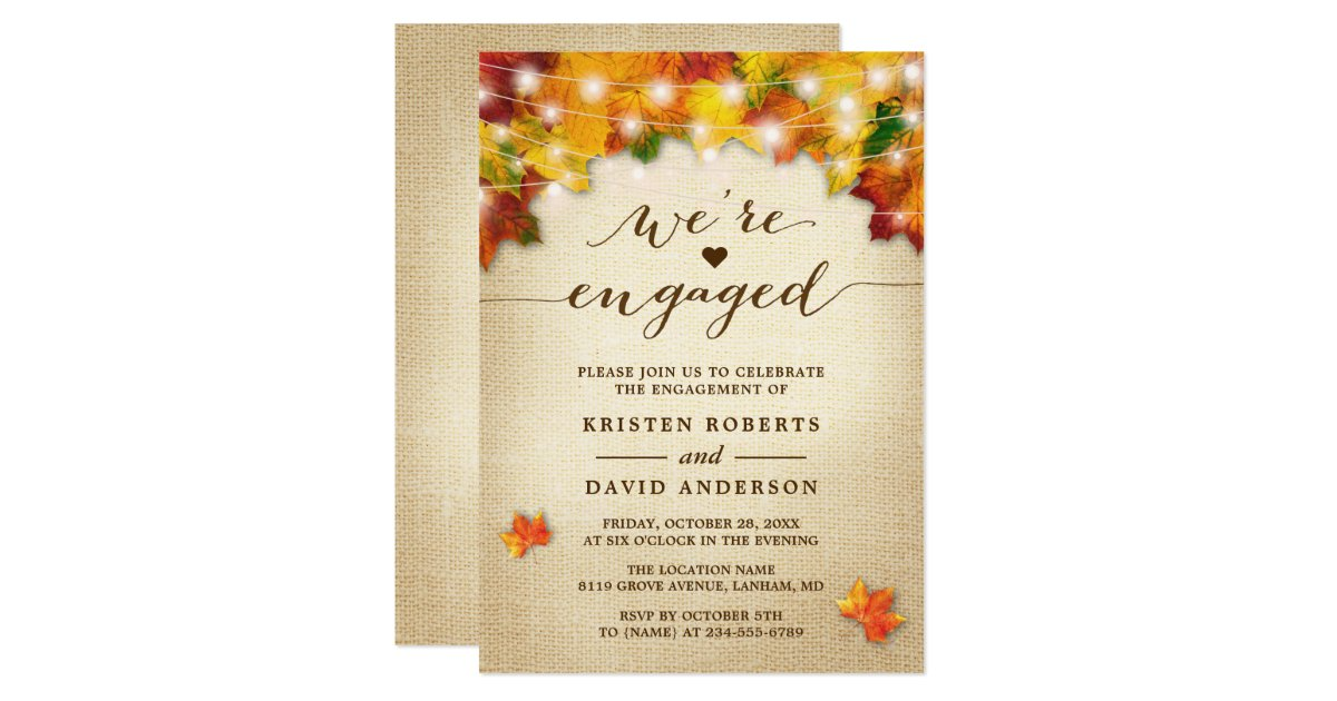 Fall Engagement Invitations & Announcements | Zazzle