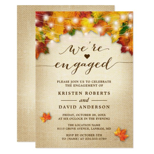fall leaves string lights burlap engagement party invitation