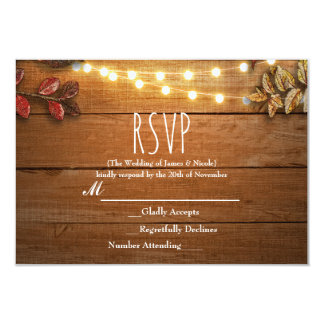 Fall Leaves & String Lights on Rustic Wood RSVP Card