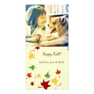 Fall Leaves: Swirly Leaves, Customized Photocard Card