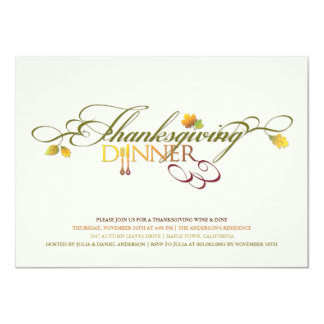 Fall Leaves Thanksgiving Dinner Feast Party Invite