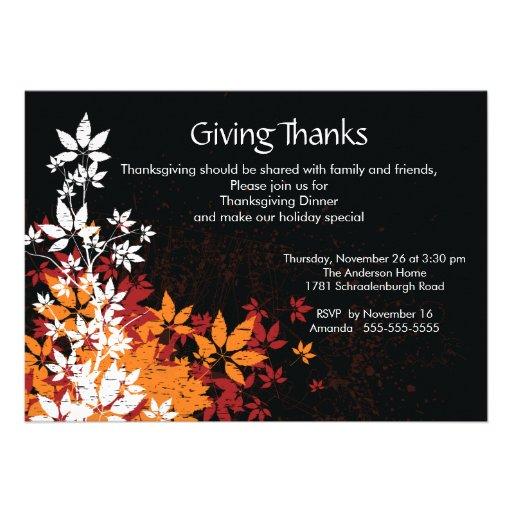 Fall Leaves Thanksgiving Dinner Invitation
