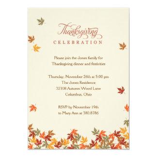 Fall Leaves Thanksgiving Dinner Invitation Custom Announcements