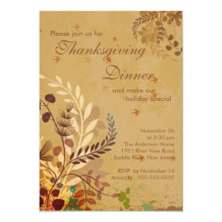 Fall Leaves Thanksgiving Dinner Party 5x7 Paper Invitation Card