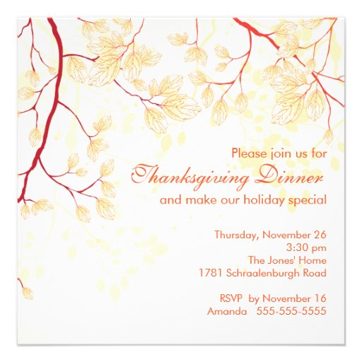Fall Leaves Thanksgiving Dinner Party Invite