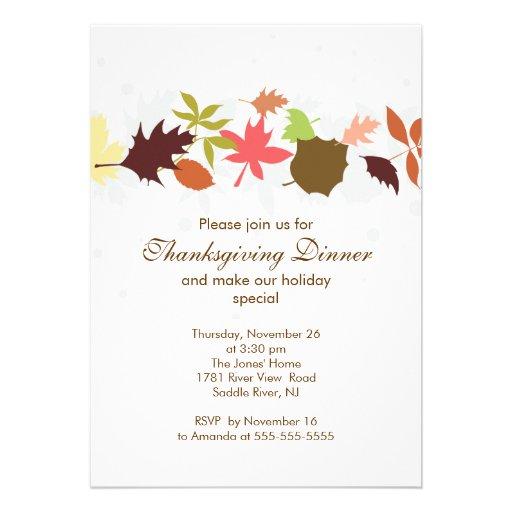 Fall Leaves Thanksgiving Dinner Party Custom Invites