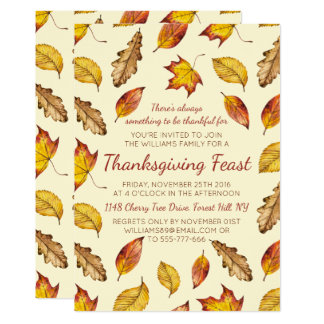 Fall Leaves Thanksgiving Feast - Choose Your Color Invitation