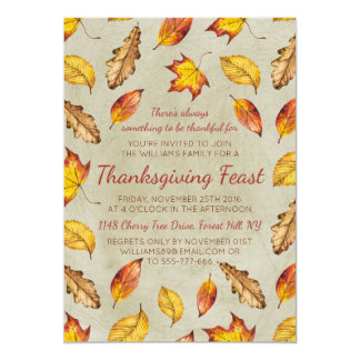 Fall Leaves Thanksgiving Feast Invitation