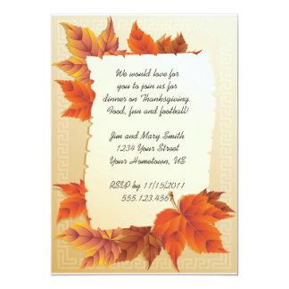 "Fall Leaves Thanksgiving Invitation 5"" X 7"" Invitation Card"