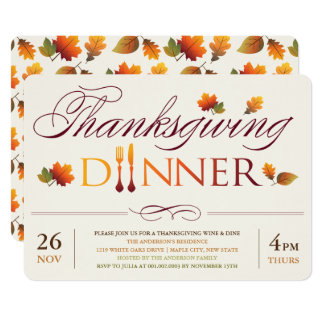 Fall Leaves Thanksgiving Wine & Dine Party Invite
