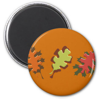 Fall Leaves Three Autumn Design 2 Inch Round Magnet