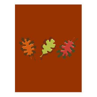 Fall Leaves Three Autumn Design Post Card
