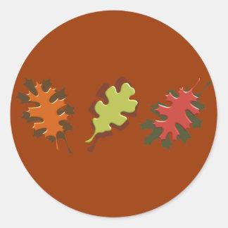 Fall Leaves Three Autumn Design Round Sticker