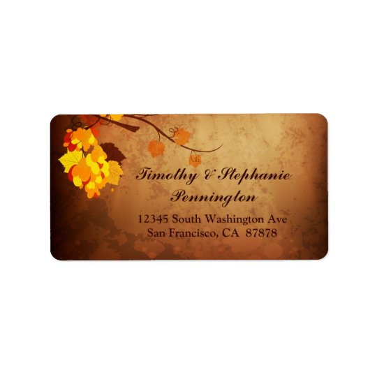 Fall leaves vintage distress wedding address label