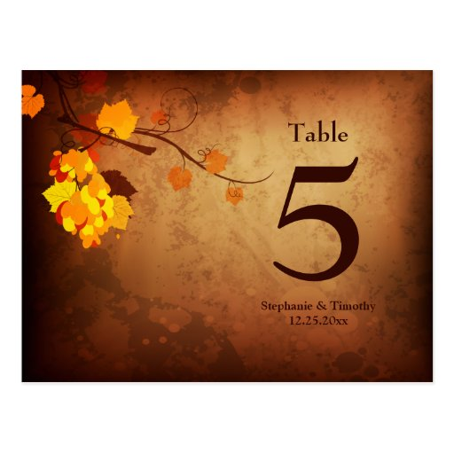 Fall leaves vintage distress wedding table number postcards