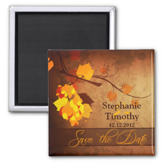 Fall leaves vintage distressed save the date 2 inch square magnet